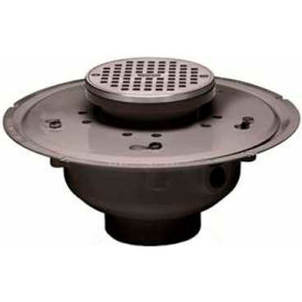 "Oatey 72096 6"" PVC Adjustable Commercial Drain with 5"" Chrome Grate & Round Ring"