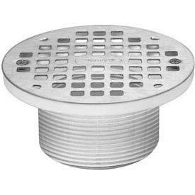 "Oatey 72100 5"" Round Chrome Grate & Square Ring & Plastic Barrel"