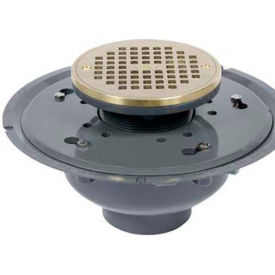 "Oatey 72136 6"" PVC Adjustable Commercial Drain with 6"" Brass Grate & Round Ring"
