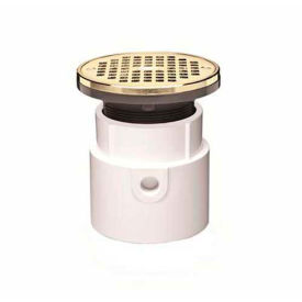 """Oatey 72139 4"""" PVC Hub Base Adjustable General Purpose Drain with 6"""" Brass Grate & Round Ring"""