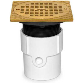 """Oatey 72148 4"""" PVC Pipe Base Adjustable General Purpose Drain with 6"""" Brass Grate & Square Ring"""