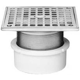 "Oatey 72216 6"" PVC Adjustable Commercial Drain 4"" Cast Nickel Square Grate and Square Top"