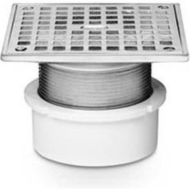 """Oatey 72248 4"""" PVC Adjustable General Purpose Pipe Fit Drain with 5"""" Cast Chrome Grate & Square Top"""