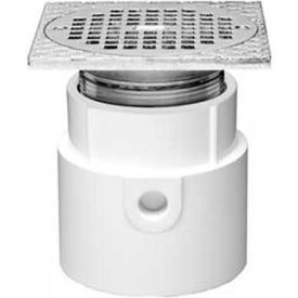 """Oatey 72302 2"""" PVC Adjustable Commercial Drain 6"""" Cast Chrome Grate and Square Top with Rd Strainer"""