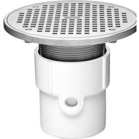 """Oatey 72338 4"""" PVC Adjustable General Purpose Pipe Fit Drain with 6"""" Cast Nickel Grate & Round Top"""