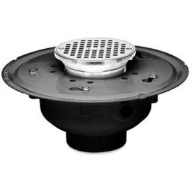 "Oatey 72342 2"" PVC Adjustable Commercial Drain with 6"" Cast Chrome Grate & Round Top"