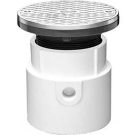 """Oatey 74198 4"""" PVC Pipe Base General Purpose Adjustable Cleanout with 6"""" Chrome Cover & Round Ring"""