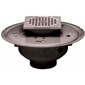 """Oatey 82044 4"""" ABS Adjustable Commercial Drain with 5"""" Brass Grate & Square Ring"""