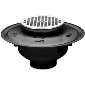 """Oatey 82126 6"""" ABS Adjustable Commercial Drain with 6"""" Brass Grate"""