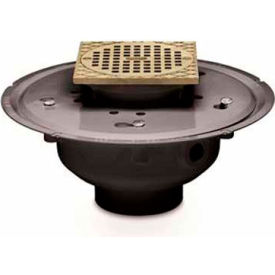 "Oatey 82144 4"" ABS Adjustable Commercial Drain with 6"" Brass Grate & Square Ring"