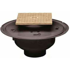 """Oatey 84143 3"""" or 4"""" ABS Adjustable Commercial Cleanout with 6"""" Brass Cover & Square Ring"""