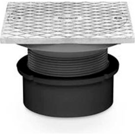 """Oatey 84149 4"""" ABS Hub Base Adjustable General Purpose Cleanout w/ 6"""" Brass Cover & Square Ring"""