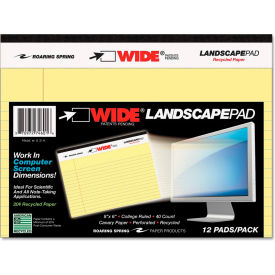 """Roaring Spring® WIDE Landscape Format Writing Pad 74601, 6"""" x 8"""", Canary, 40 Sheets/Pad, 1/Pack"""