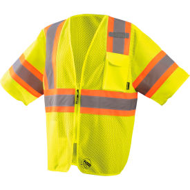 Mesh Two-Tone Vest With Zipper Class 3 Hi-Vis Yellow Large