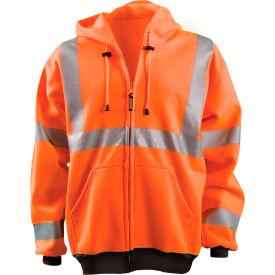 Full Zip Hoodie Sweatshirt Hi-Vis Orange Large