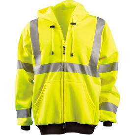 Full Zip Hoodie Sweatshirt Hi-Vis Yellow 4XL