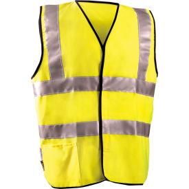 Dual Stripe Flame Resistant Vest With Hook & Loop Class 2 Hi-Vis Yellow 3XL