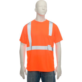 Standard Wicking T-Shirt With Pocket Class 2 Hi-Vis Orange Small