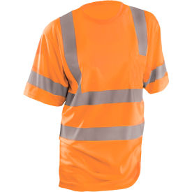 OccuNomix Class 3 Classic Wicking Birdseye T-Shirt with Pocket, Orange, 4XL