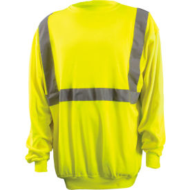 Classic Lightweight Crew Sweater, Hi-Vis Yellow, ANSI, Class 2, M