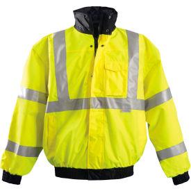 Premium Black Bottom Bomber Jacket, Hi-Vis Yellow, 5XL