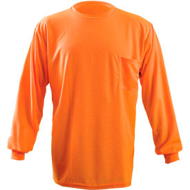Long Sleeve Wicking Birdseye T-Shirt With Pocket Hi-Vis Orange 4XL