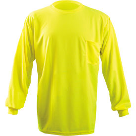 Long Sleeve Wicking Birdseye T-Shirt With Pocket Hi-Vis Yellow M