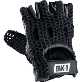 OccuNomix Classic Knuckle Lifters Half-finger Gloves, Full-Grain Leather, Black, S, 1 Pair