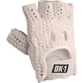 OccuNomix Classic Knuckle Lifters Half-finger Gloves, Full-Grain Leather, White, L, 1 Pair