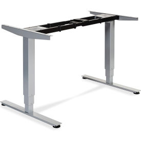 """Lorell® Electric Height Adjustable 3-Tier Sit-Stand Desk Frame -44.25""""W x 26.6""""D x 50""""H -Silver"""