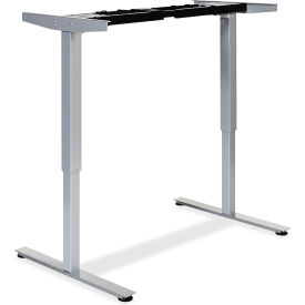 """Lorell® Electric Height Adjustable 2-Tier Sit-Stand Desk Frame -44.25""""W x 27.5""""D x 46""""H -Silver"""
