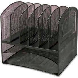 Lorell® Horizontal Vertical Mesh Desk Organizer, 8 Compartments, Black