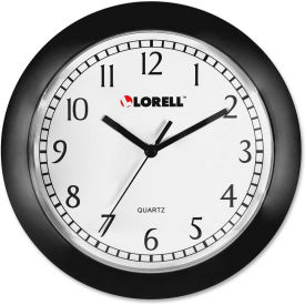 "Lorell® 9"" Round Quartz Wall Clock, Plastic Case, Black"