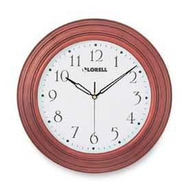 "Lorell® 13.3"" Round Quartz Wall Clock, Wood Case, Mahogany"