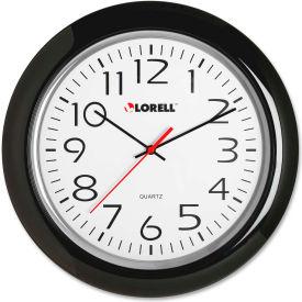 "Lorell® 13.3"" Round Quartz Wall Clock, Plastic Case, Black"