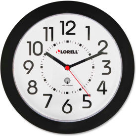 "Lorell® 8.5"" Round Radio Controlled Wall Clock, Plastic Case, Black"