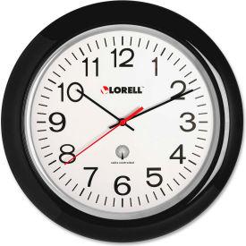 "Lorell® 13.5"" Round Radio Controlled Wall Clock, Plastic Case, Black"