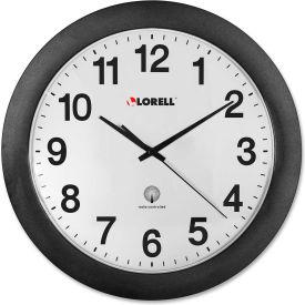 "Lorell® 12"" Round Radio Controlled Wall Clock, Plastic Case, Black"