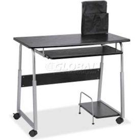 Lorell® Laminate Mobile Computer Desk, Black/Silver