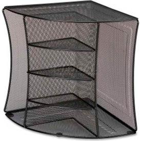 Lorell® Mesh Corner Desktop Organizer, 2 Pockets, Black