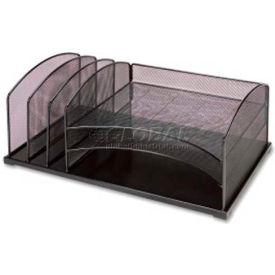 Lorell® Mesh Desktop Organizer, 6 Compartments, Black
