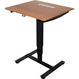 """Lorell® Mobile Sit-Stand Height Adjustable Table - 27""""W x 24""""D - Mahogany with Black Frame"""