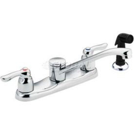 Moen Kitchen Faucet w/Double Lever Handle, Low Arc Spout & 4 Holes, Chrome 8791