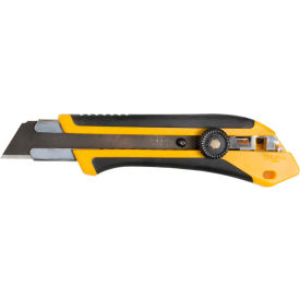OLFA 1071858 Fiberglass Rubber Grip Ratchet-Lock Utility Knife Black/Yellow by