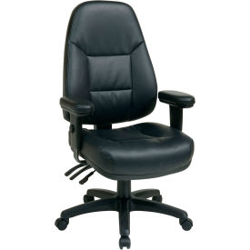 Office Star High-Back Eco-Leather Chair - Black
