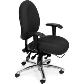 OFM 24 Hour Big and Tall Ergonomic Computer Swivel Task Chair with Arms, Fabric, Black