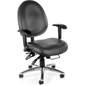 Vinyl 24 Hour Computer Task Chair Hi-back - Charcoal