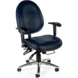 Vinyl 24 Hour Computer Task Chair Hi-back - Navy