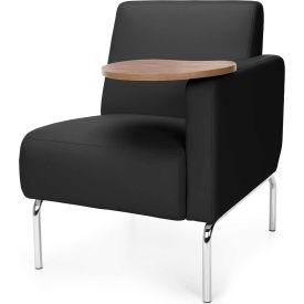 OFM Triumph Series Modular Left Arm Lounge Chair with Bronze Tablet, Polyurethane, Black