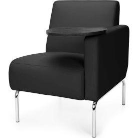 OFM Triumph Series Modular Left Arm Lounge Chair with Tungsten Tablet, Polyurethane, Black